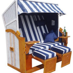 Homelux Strandkorb BC160-2 Deluxe Polyrattan Sylt Ostsee Volllieger